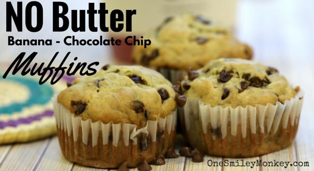 No butter, banana chocolate chip muffins recipe